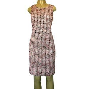 St John Tweed Knit Red Pink Black Sheath Dress 2